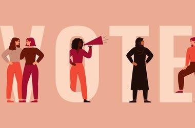 Graphic of women around VOTE text