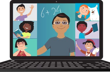 Image of a teacher and students in an online classroom