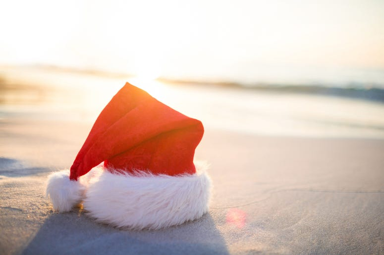 Santa hat on the beach
