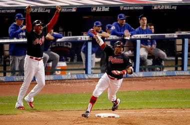 Indians Rajai Davis hits game tying 2 run home run in World Series Game 7