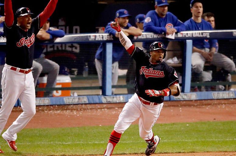 Indians Rajai Davis hits game tying 2 run home run in World Series Game 7