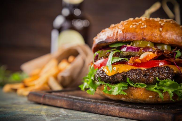 Burger On A Wood Table