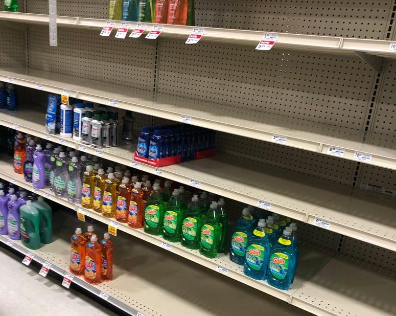 Dish Soap Shelves During Pandemic
