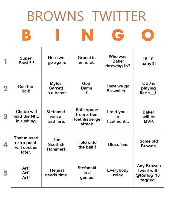 Browns Twitter Bingo Card