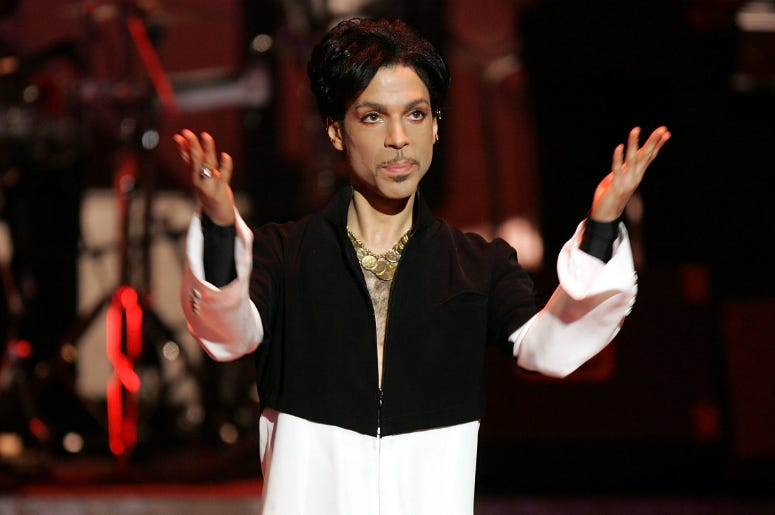 Prince is seen on stage at the 36th NAACP Image Awards