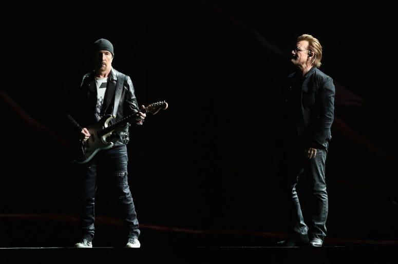 The Edge and Bono of U2 perform during The Joshua Tree Tour 2017 at University of Phoenix Stadium on September 19, 2017 in Glendale, Arizona.