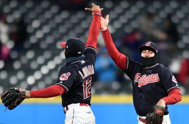 Cleveland Indians shortstop Francisco Lindor (12) and center fielder Bradley Zimmer (4)