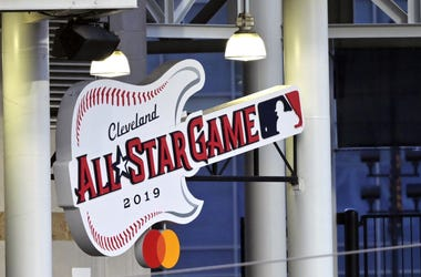 the all-star game logo hanging at Progressive Field