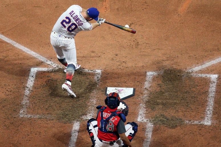 New York Mets first baseman Pete Alonso (20) during the second round in the 2019 MLB Home Run Derby at Progressive Field.