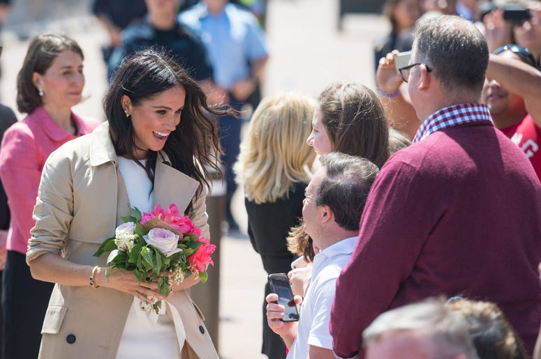 he Duchess of Sussex during a walkabout outside the Sydney Opera House, in Sydney on the first day of the Royal couple's visit to Australia.