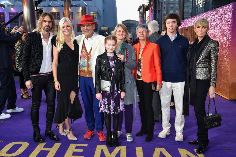 Jim Beach and family, including son Ol Beach (left) attending the Bohemian Rhapsody World Premiere held at the the SSE Arena, Wembley, London.