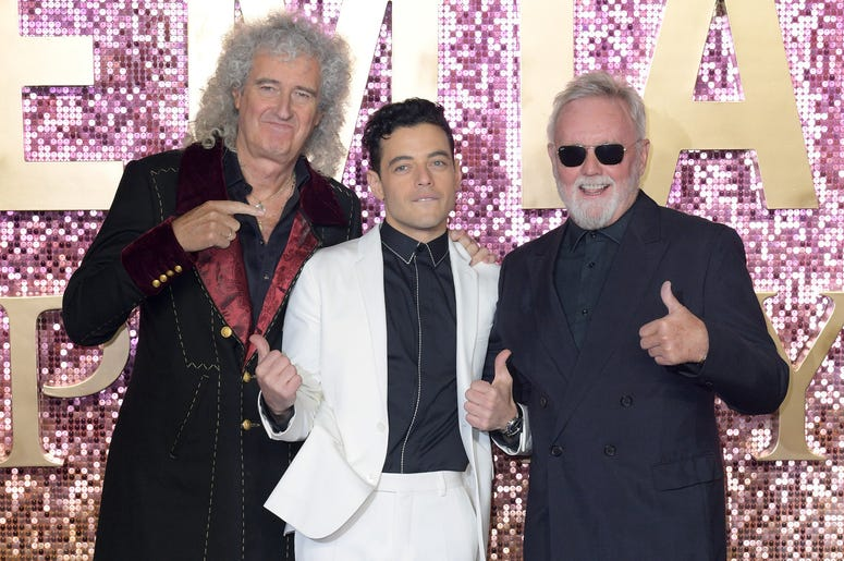 Brian May, Rami Malek, and Roger Taylor attending the Bohemian Rhapsody World Premiere held at The SSE Arena, London.