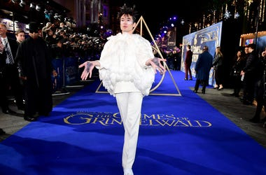 Ezra Miller attending the Fantastic Beasts: The Crimes of Grindelwald UK premiere held at Leicester Square, London.