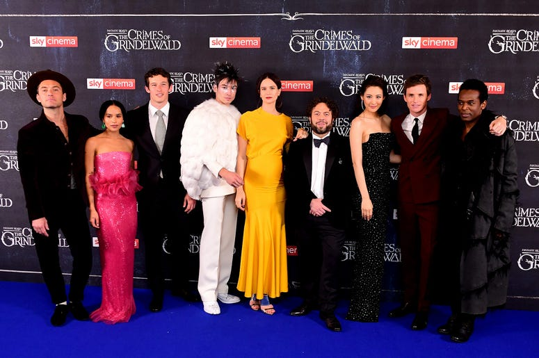 Jude Law (left to right), Zoe Kravitz, Callum Turner, Ezra Miller, Katherine Waterston, Dan Fogler, Claudia Kim, Eddie Redmayne and William Nadylam attending the Fantastic Beasts: The Crimes of Grindelwald UK premiere held at Leicester Square, London