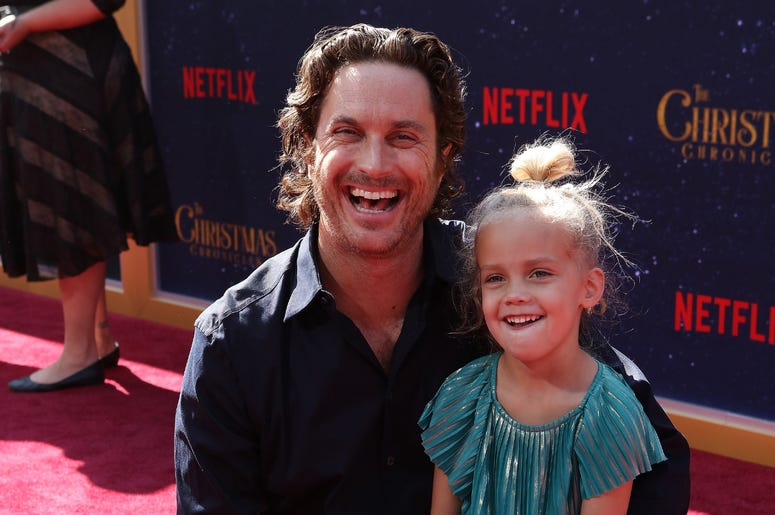 Oliver Hudson, Rio Hudson attend the Los Angeles Premiere 'The Christmas Chronicles' held at Regency Bruin Theatre on November 18, 2018 in Los Angeles, California,