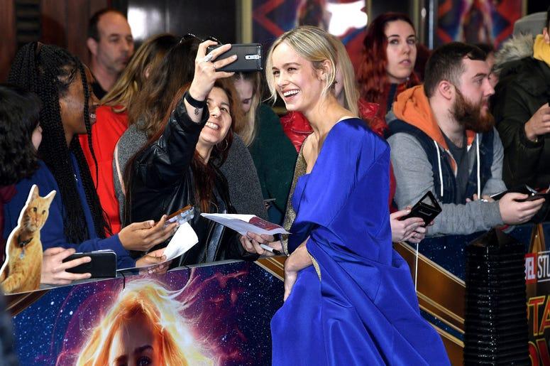 Brie Larson attending the European premiere of Captain Marvel at Curzon Mayfair, London.
