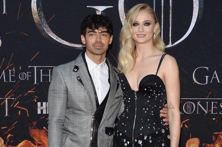 """(L-R) Joe Jonas and Sophie Turner attend HBO's """"Game of Thrones"""" eight and final season premiere at Radio City Music Hall in New York, NY, April 3, 2019."""