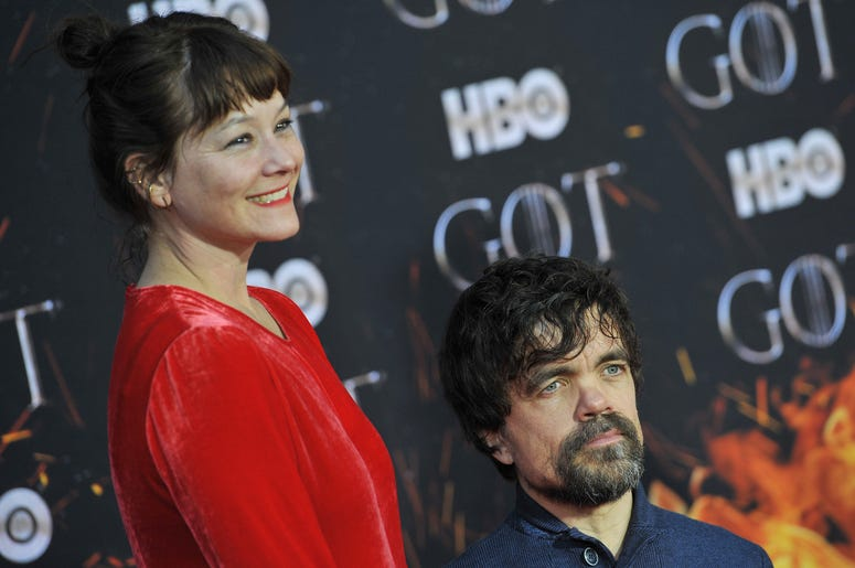 """(L-R) Erica Schmidt and Peter Dinklage attend HBO's """"Game of Thrones"""" eight and final season premiere at Radio City Music Hall in New York, NY, April 3, 2019."""