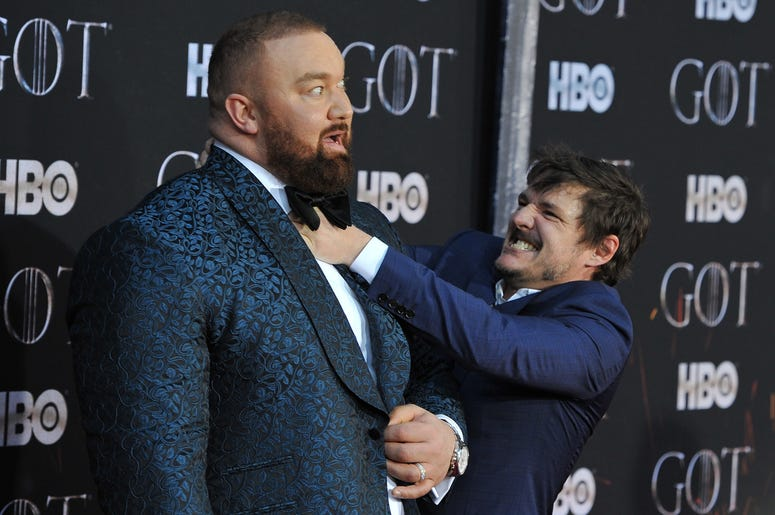 """(L-R) Hafþor Julius Bjornsson and Pedro Pascal attend HBO's """"Game of Thrones"""" eight and final season premiere at Radio City Music Hall in New York, NY, April 3, 2019."""