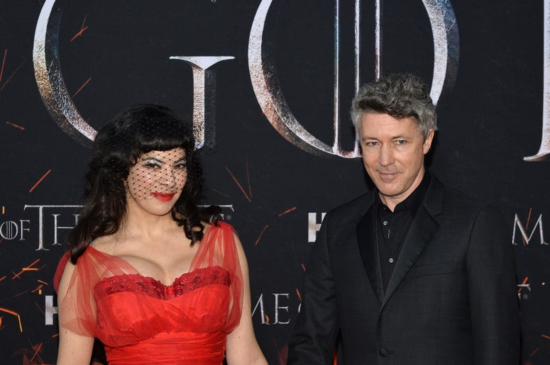 """(L-R) Camille O'Sullivan and Aidan Gillen attend HBO's """"Game of Thrones"""" eight and final season premiere at Radio City Music Hall in New York, NY, April 3, 2019."""