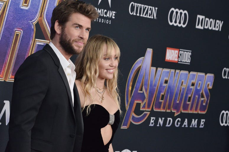 "(L-R) Liam Hemsworth and Miley Cyrus at Marvel Studios' ""Avengers: Endgame"" World Premiere held at the Los Angeles Convention Center in Los Angeles, CA on Monday, April 22, 2019."