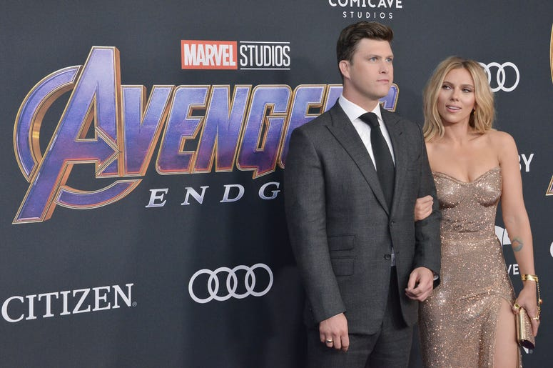"(L-R) Colin Jost and Scarlett Johansson at Marvel Studios' ""Avengers: Endgame"" World Premiere held at the Los Angeles Convention Center in Los Angeles, CA on Monday, April 22, 2019."