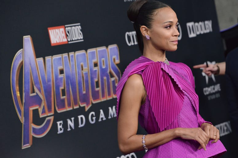 "Zoe Saldana arrives at Marvel Studios' ""Avengers: Endgame"" World Premiere held at the Los Angeles Convention Center in Los Angeles, CA on Monday, April 22, 2019."