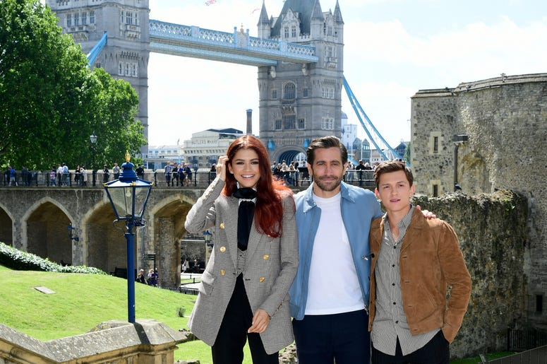 Zendaya, Jake Gyllenhaal and Tom Holland attending the Spider-Man: Far From Home Photocall held at the Tower of London.