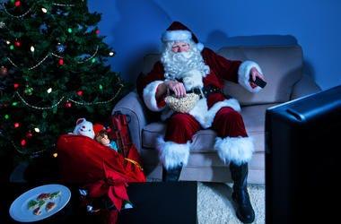 Santa Watching TV
