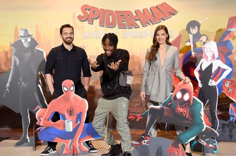 """Jake Johnson, Shameik Moore and Hailee Steinfeld attend the Photo Call For Sony Pictures Releasing's """"Spider-Man: Into The Spider-Verse"""" at Four Seasons Hotel Los Angeles at Beverly Hills on November 30, 2018 in Los Angeles, California."""