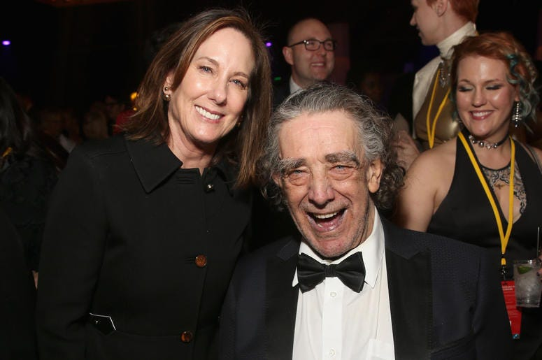 Producer Kathleen Kennedy (L) and Peter Mayhew at the world premiere of Lucasfilm's Star Wars: The Last Jedi
