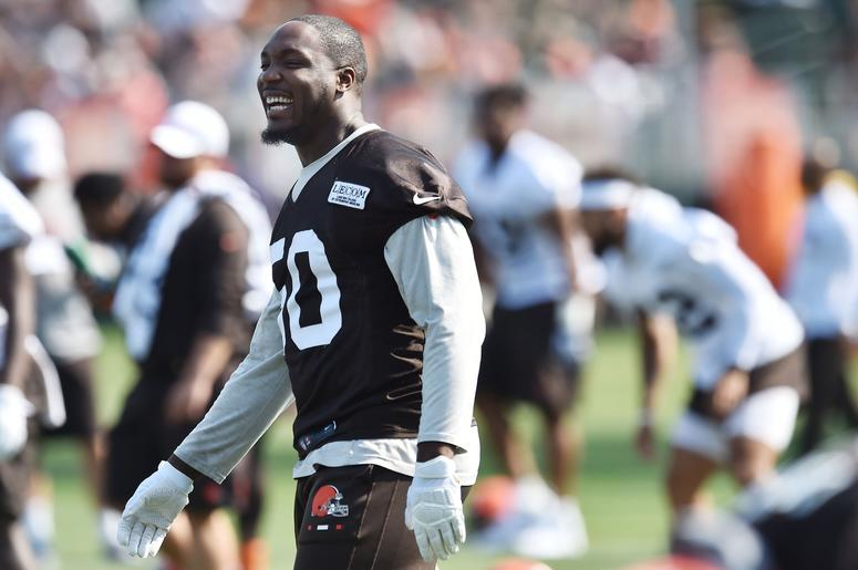 Cleveland Browns defensive end Chris Smith (50) smiles during training camp at the Cleveland Browns Training Complex.