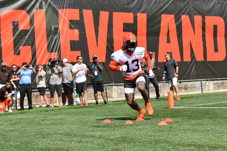 Cleveland Browns wide receiver Odell Beckham (13) runs a drill during training camp at the Cleveland Browns Training Complex.