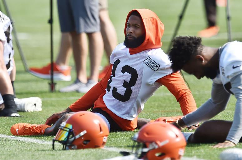 Cleveland Browns wide receiver Odell Beckham (13) stretches during training camp at the Cleveland Browns Training Complex.