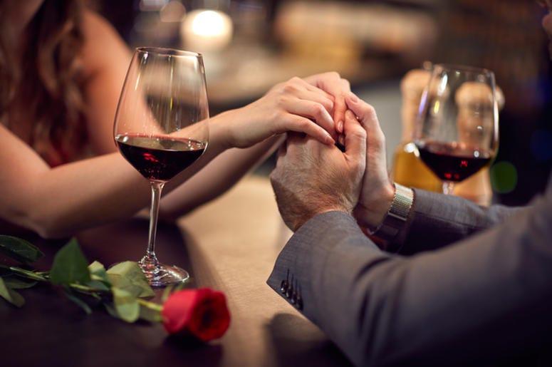 Romance at restaurant for Valentine`s Day