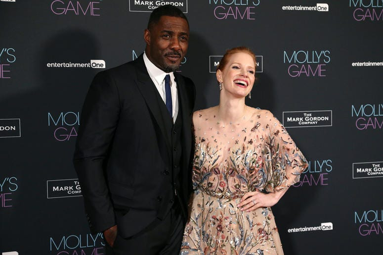 Idris Elba and Jessica Chastain attending the UK Premiere of Molly's Game, at Vue West End, Leicester Square, London.