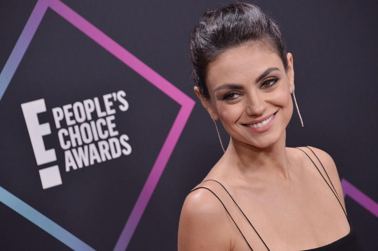 Mila Kunis arrives at the 2018 E! People's Choice Awards held at the Barker Hangar in Santa Monica, CA on Sunday, ​November 11, 2018.