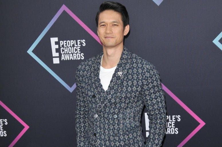 Harry Shum Jr arrives at the 2018 E! People's Choice Awards held at the Barker Hangar in Santa Monica, CA on Sunday, ​November 11, 2018.