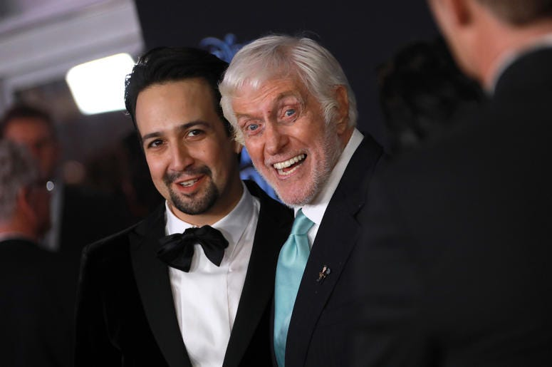 Lin-Manuel Miranda and Dick Van Dyke at the Disney's 'Mary Poppins Returns' Los Angeles Premiere held at the Dolby Theatre on November 29, 2018 in Hollywood, CA, USA