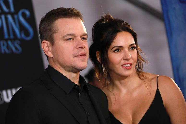 Matt Damon and Luciana Barroso at the Disney's 'Mary Poppins Returns' Los Angeles Premiere held at the Dolby Theatre on November 29, 2018 in Hollywood, CA, USA