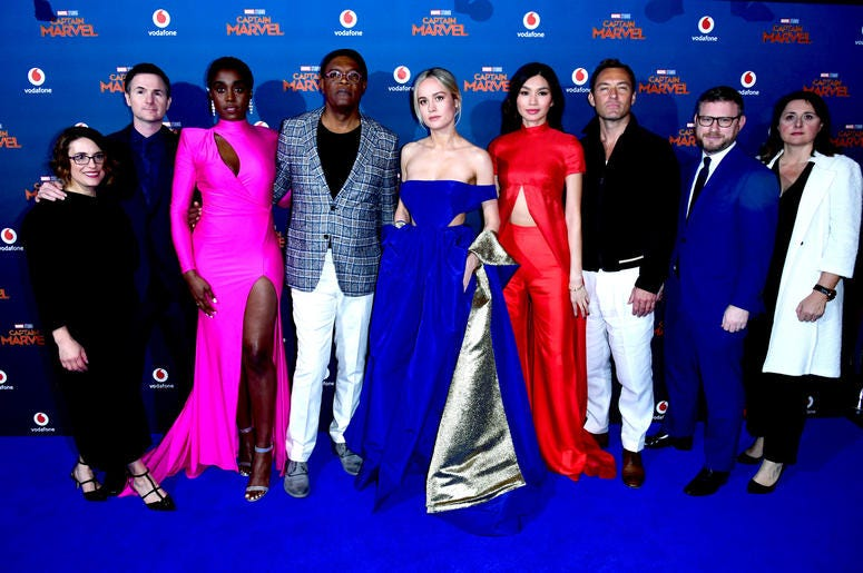 (left to right) Anna Boden, Ryan Fleck, Lashana Lynch, Samuel L. Jackson, Brie Larson, Gemma Chan, Jude Law, Jonathan Schwartz and Victoria Alonso attending the Captain Marvel European Premiere held at the Curzon Mayfair, London.