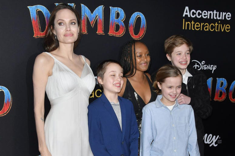 "(L-R) Angelina Jolie, Knox Jolie-Pitt, Zahara Marley Jolie-Pitt, Vivienne Marcheline Jolie-Pitt and Shiloh Jolie-Pitt arrives at Disney's ""Dumbo"" Los Angeles Premiere held at the El Capitan Theatre in Hollywood, CA on Monday, March 11, 2019."