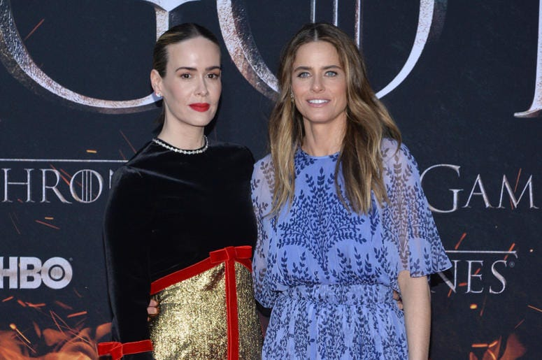 """(L-R) Sarah Paulson and Amanda Peet attend HBO's """"Game of Thrones"""" eight and final season premiere at Radio City Music Hall in New York, NY, April 3, 2019."""