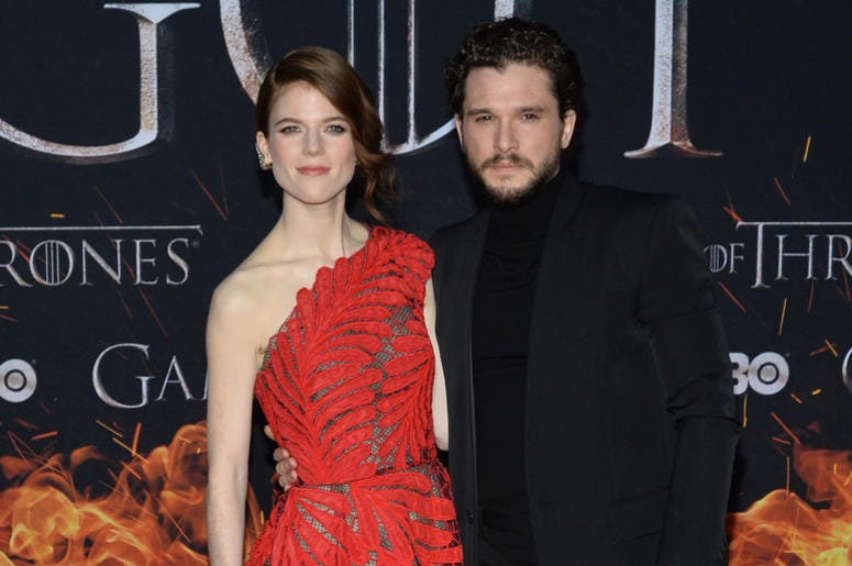 """(L-R) Rose Leslie and Kit Harington attend HBO's """"Game of Thrones"""" eight and final season premiere at Radio City Music Hall in New York, NY, April 3, 2019."""