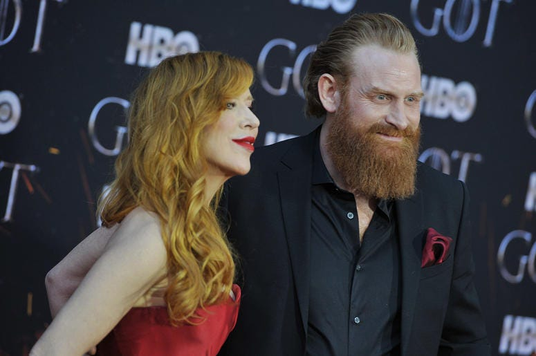 """(L-R) Gry Molvær Hivju and Kristofer Hivju attend HBO's """"Game of Thrones"""" eight and final season premiere at Radio City Music Hall in New York, NY, April 3, 2019."""