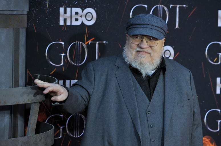 """George R.R. Martin attends HBO's """"Game of Thrones"""" eight and final season premiere at Radio City Music Hall in New York, NY, April 3, 2019."""