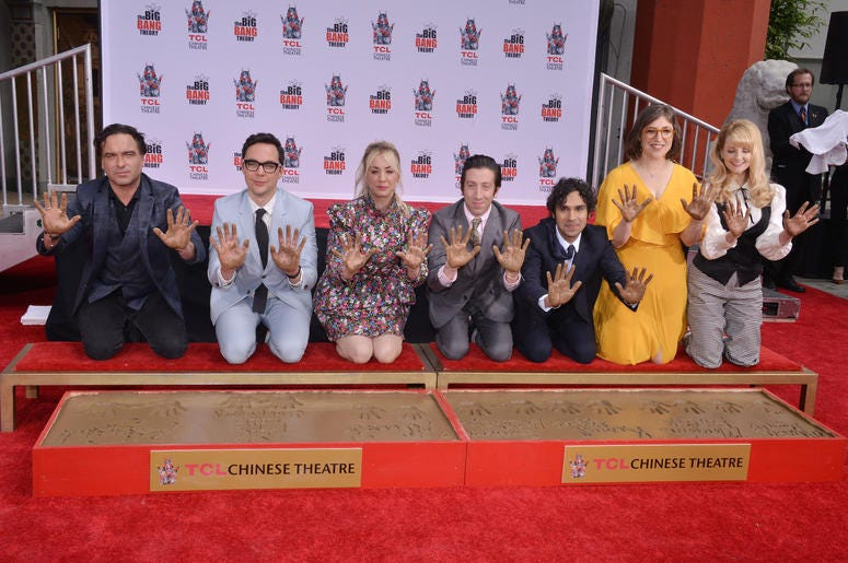 """(L-R) The Cast of """"The Big Bang Theory"""" Johnny Galecki, Jim Parsons, Kaley Cuoco, Simon Helberg, Kunal Nayyar, Mayim Bialik and Melissa Rauch at their Handprints, Ceremony held at the TCL Chinese Theatre in Hollywood, CA on Wednesday, May 1, 2019. ("""