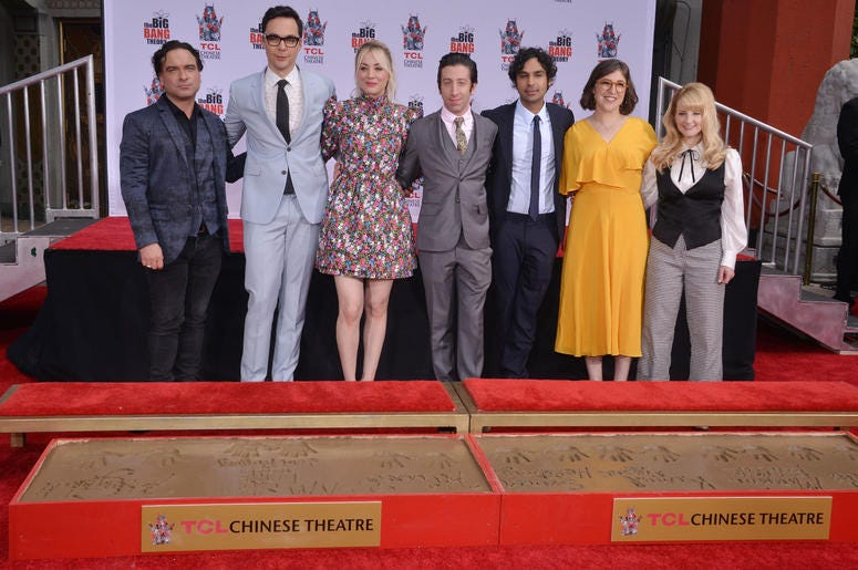 """(L-R) The Cast of """"The Big Bang Theory"""" Johnny Galecki, Jim Parsons, Kaley Cuoco, Simon Helberg, Kunal Nayyar, Mayim Bialik and Melissa Rauch at their Handprints, Ceremony held at the TCL Chinese Theatre in Hollywood, CA on Wednesday, May 1, 2019."""