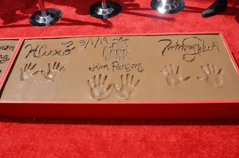 """The Cast of """"The Big Bang Theory"""" Kaley Cuoco, Jim Parsons and Johnny Galecki's Handprints in Cement held at the TCL Chinese Theatre in Hollywood, CA on Wednesday, May 1, 2019."""