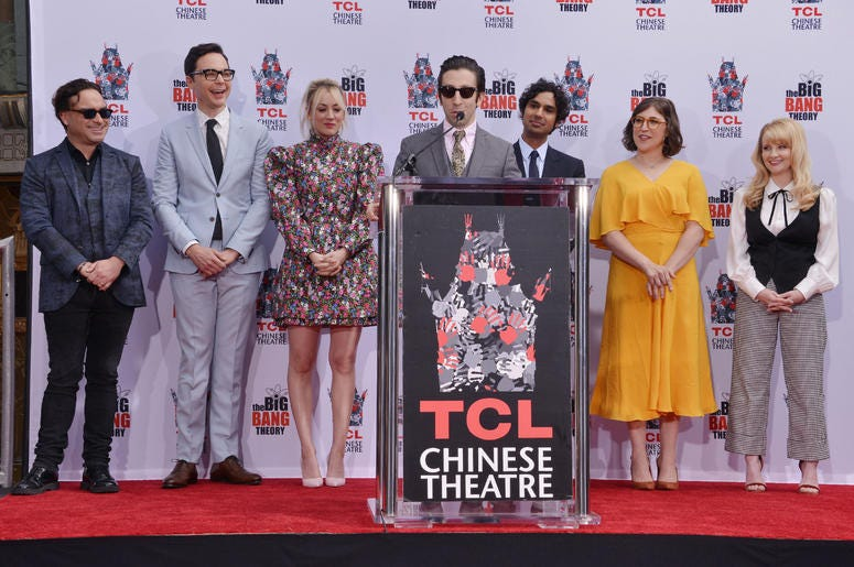 """(L-R) The Cast of """"The Big Bang Theory"""" - Johnny Galecki, Jim Parsons, Kaley Cuoco, Simon Helberg, Kunal Nayyar, Mayim Bialik and Melissa Rauch's Handprints in Cement Ceremony held at the TCL Chinese Theatre in Hollywood, CA on Wednesday, May 1, 2019."""